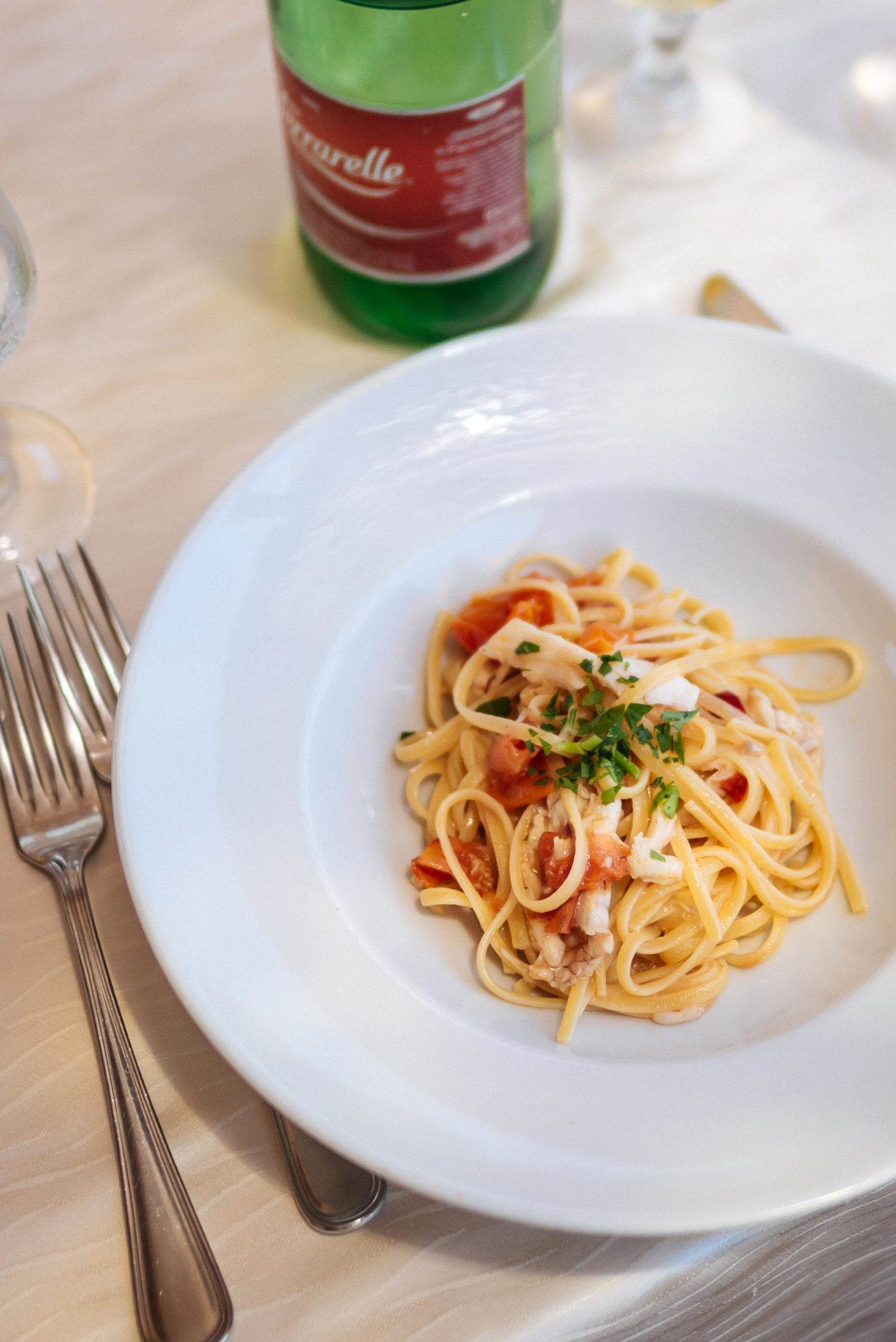 Make this Italian bucatini and Fish Pasta with Cherry Tomatoes recipe from The Taste SF