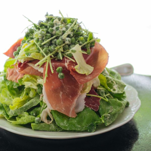Make New York City's Via Carota's Piselli salad at home with whipped robiola cheese, peas, and prosciutto with The Taste SF's easy salad recipe #recipe #salad #italian