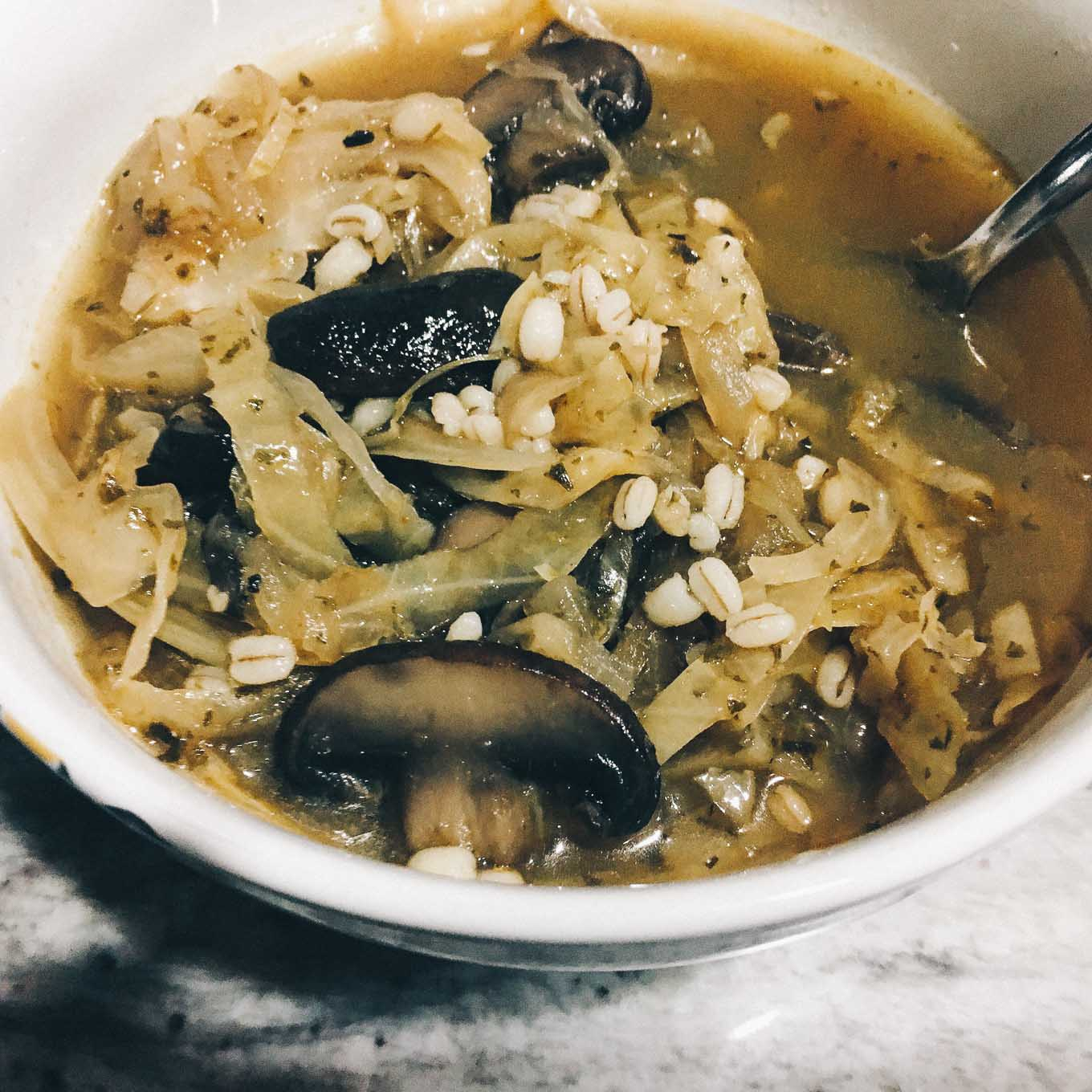 Mushroom and Barley Soup with Cabbage | the Tastiest Book