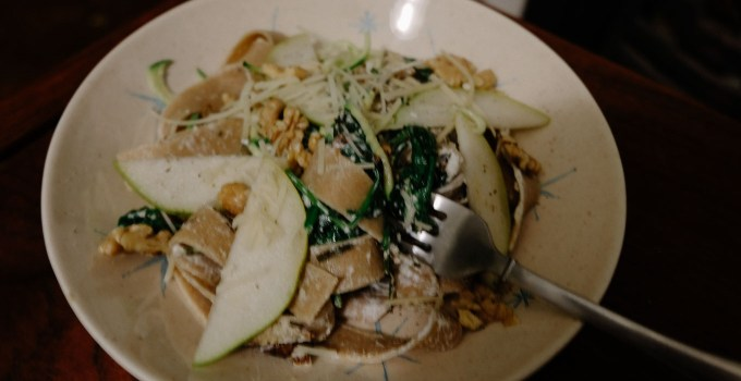Mushroom, Goat's Cheese, Pear, and Walnut Fettuccine