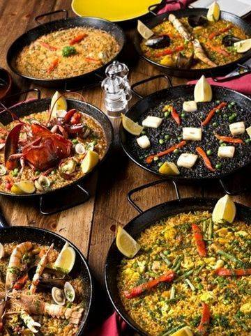 different dishes of paella