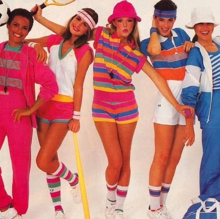 People dressed in 80s sports gear