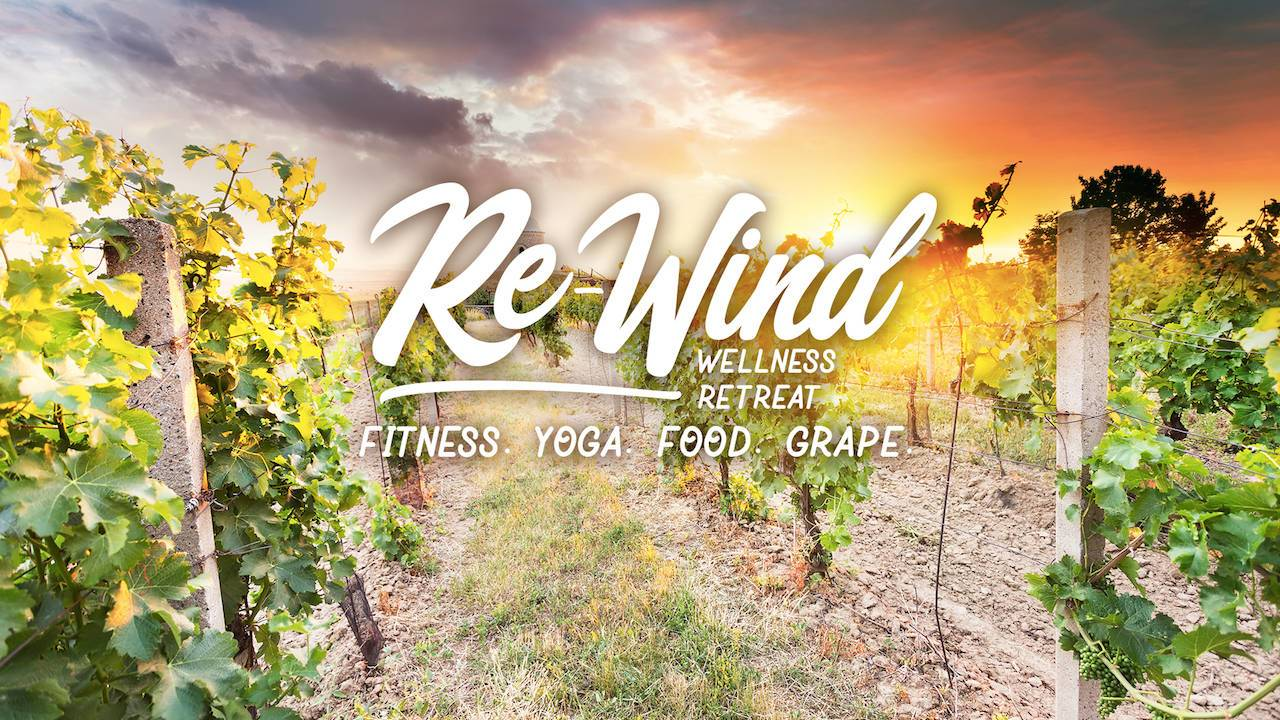 Rewind wellness retreat fitness yoga food grape