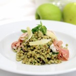 Farro with Basil and Walnut Pesto