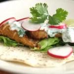 Fried Fish Tacos with Avocado Lime Cream