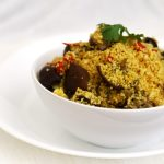 Curried Couscous with Roasted Indian Eggplants