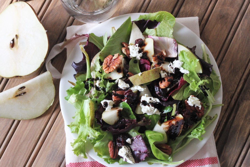 Goat Cheese, Pear, Pecan, and Cranberry Salad with Reduced Balsamic Vinaigrette-3