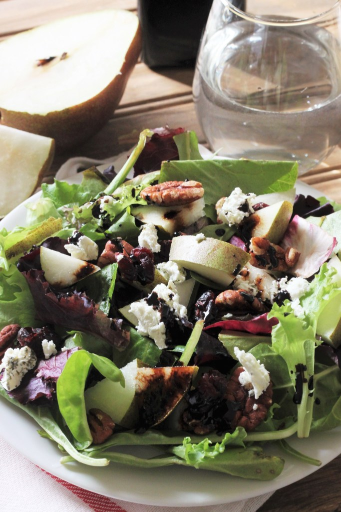 Goat Cheese, Pear, Pecan, and Cranberry Salad with Reduced Balsamic Vinaigrette-4