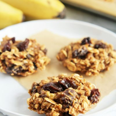 Peanut Butter and Banana Protein Oatmeal Cookies