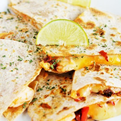 Chipotle Shrimp and Roasted Pepper Quesadillas