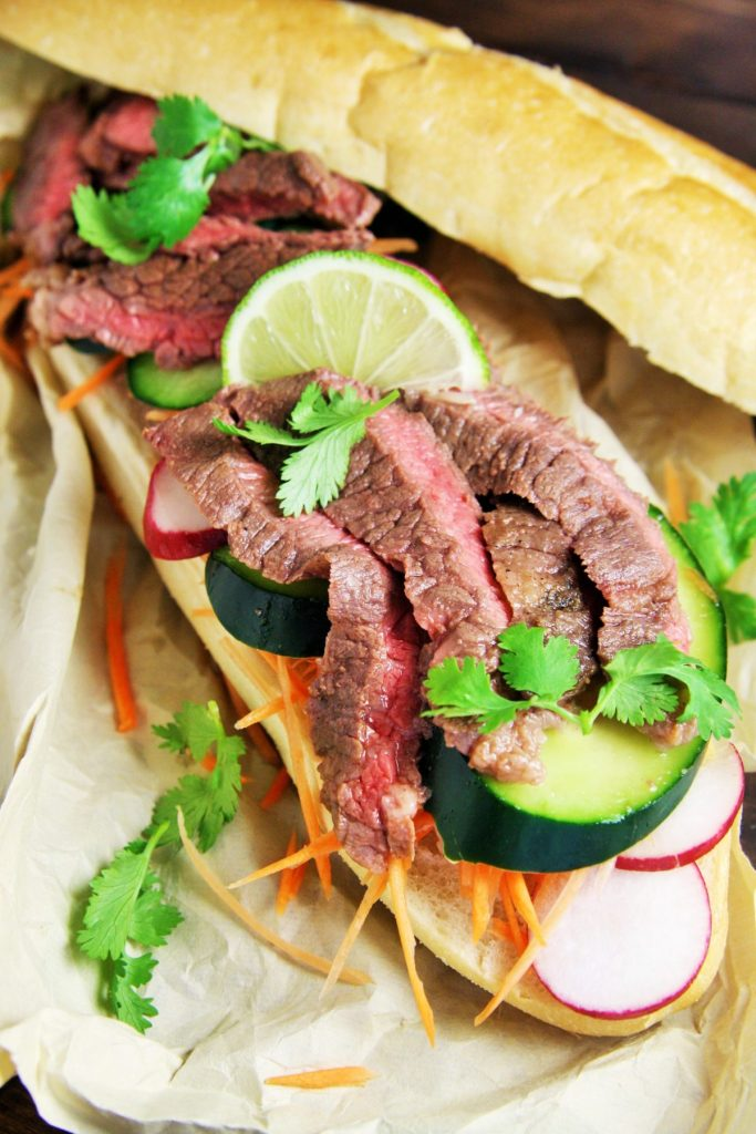 Vietnamese Flank Steak Sandwiches - The Tasty Bite
