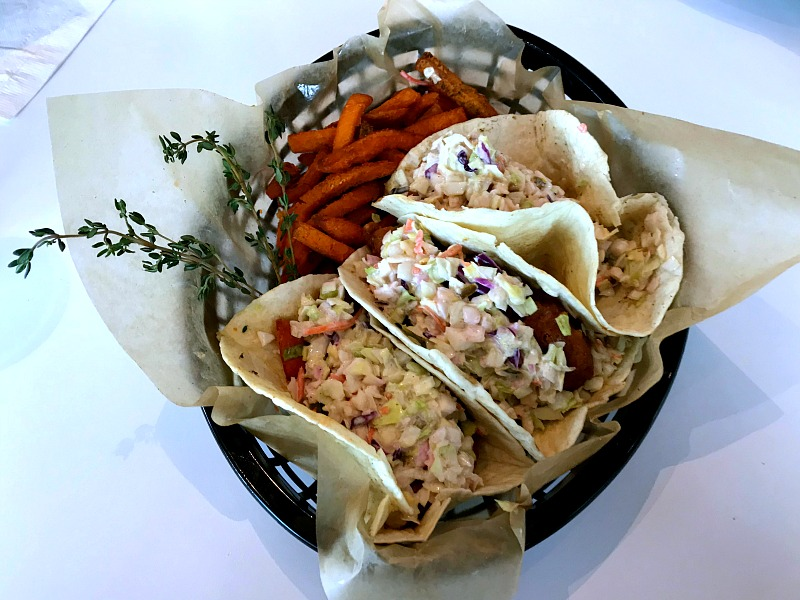 fish tacos with Caribbean slaw