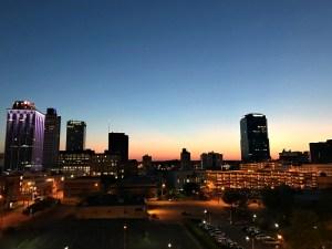 sunset downtown Little Rock