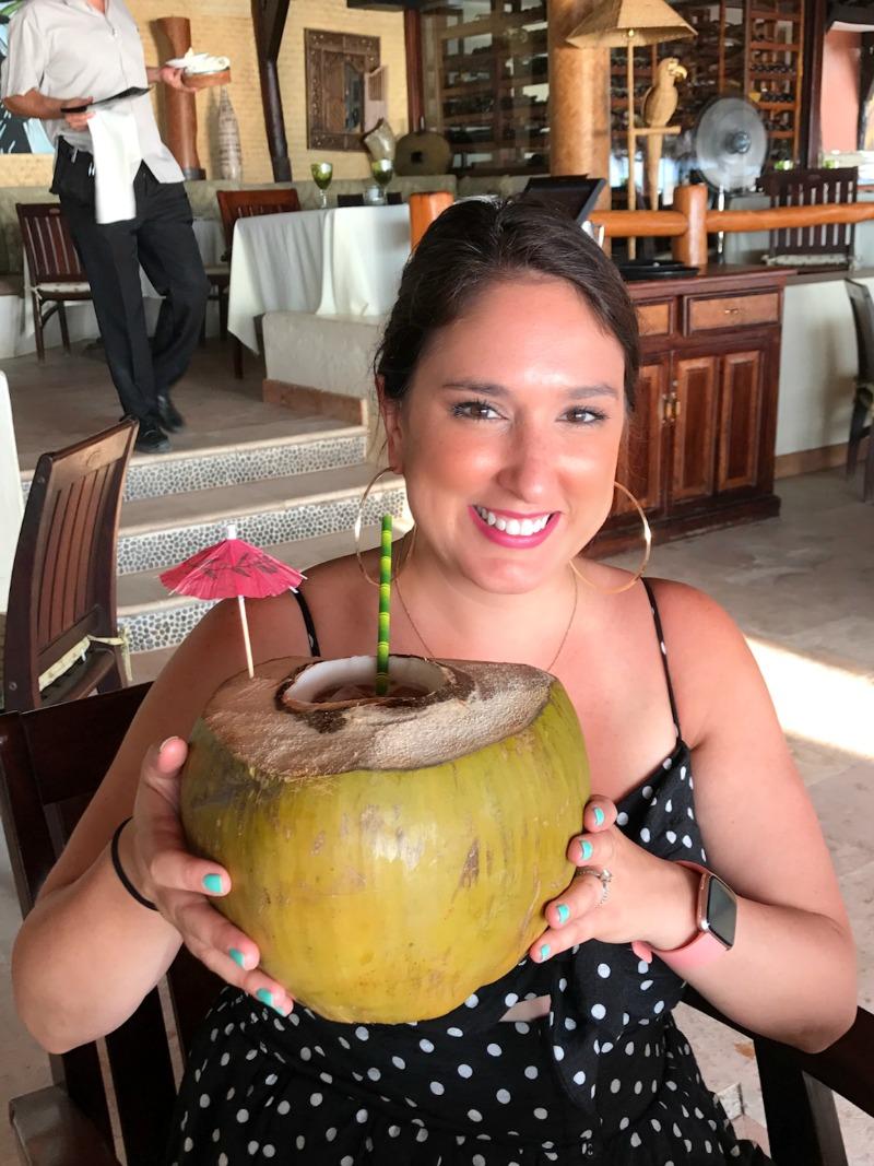 coconut drink at La Palapa