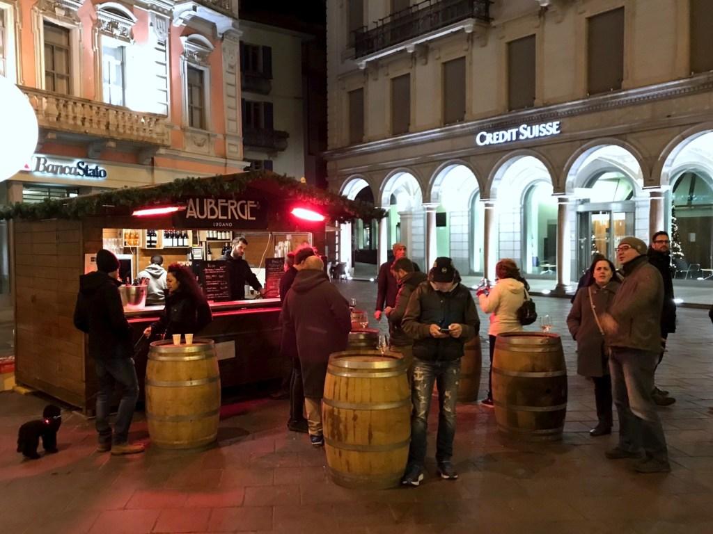 Heated wine stands in the Centro Storico, Lugano