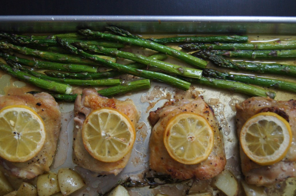 Sheet Pan Chicken with Potatoes and Asparagus