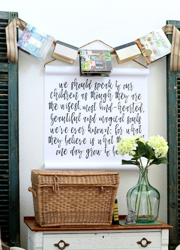 A fun and easy way to decorate with books is with this DIY book garland.