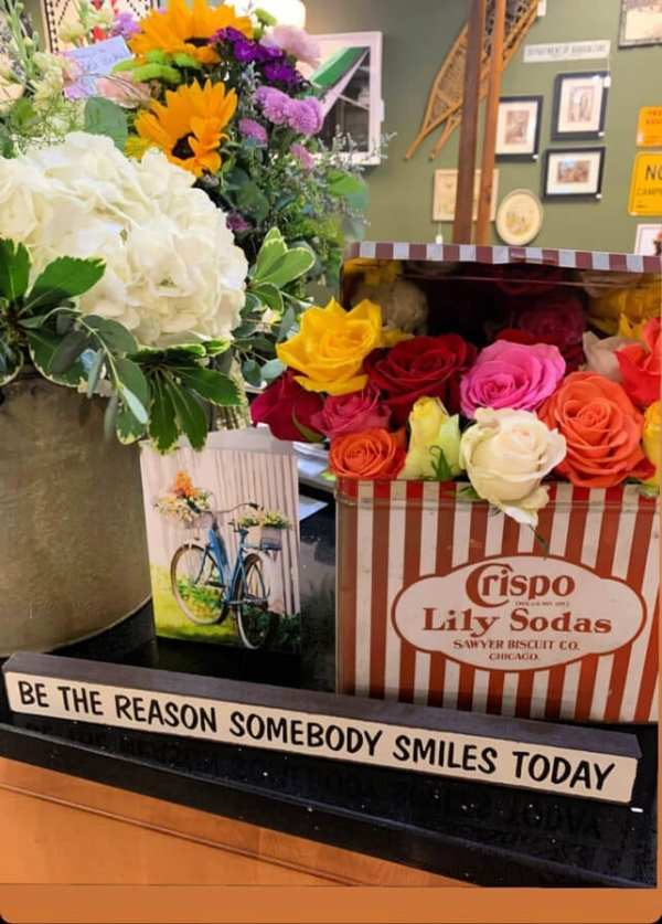 Welcome Home SUnday: Flowers in vintage containers