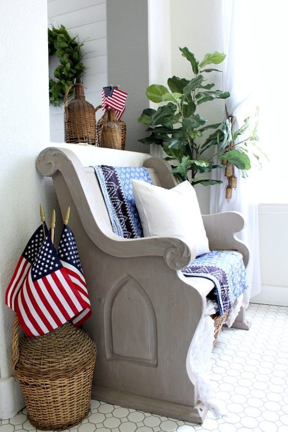 This darling little pew is patriotic and all dressed up for summer!