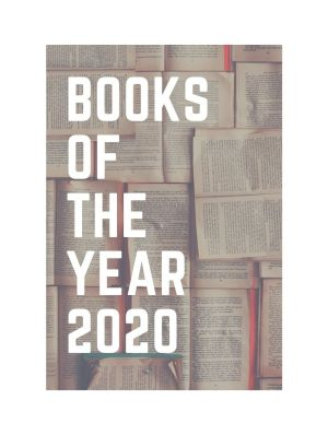 Books of the year 2020 text with pages in the background
