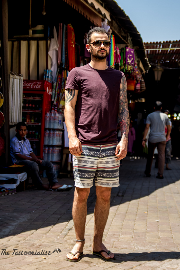 Inked Boy in the street of Marrakech tattooed by Stu Pagdin , photo by Nicolas Brulez for The Tattoorialist,