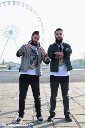 Shooting for inked mag france with the twins Julien and Vincent from the band NOSWAD in Paris, acid t-shirts ,Project Pieta jackets, photos by Nicolas Brulez aka The Tattoorialist