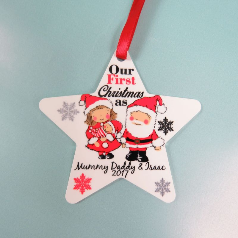 Personalised 1st christmas tree decorations for Baby s first christmas decoration