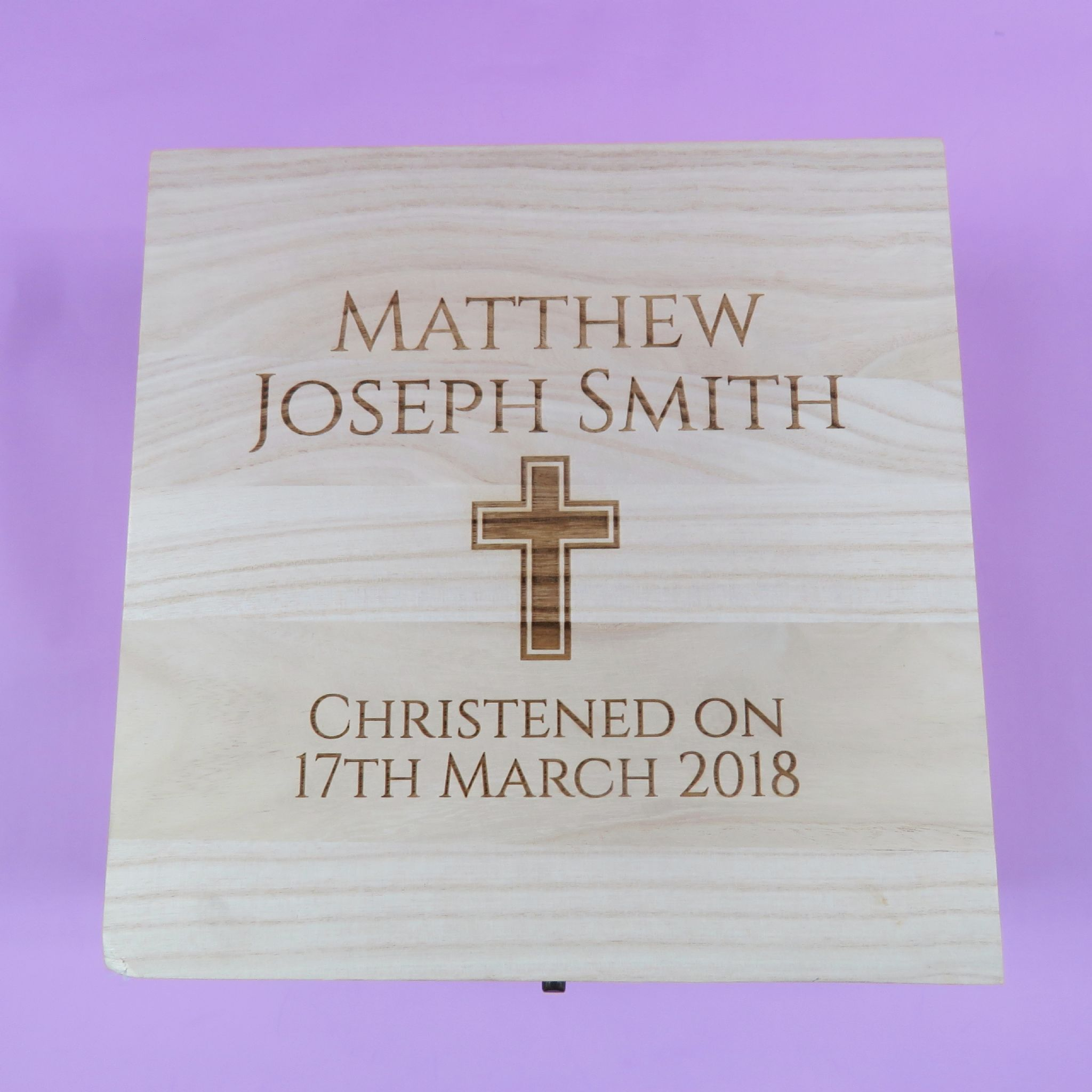 wooden christening box personalised
