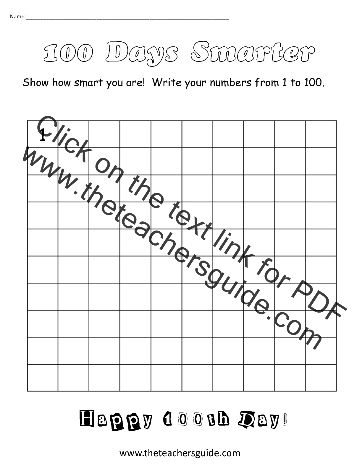 The Teacher S Guide 100th Day Of School Theme Page