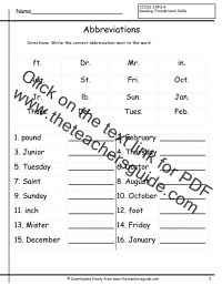 Abbreviations Worksheets from The Teacher's Guide