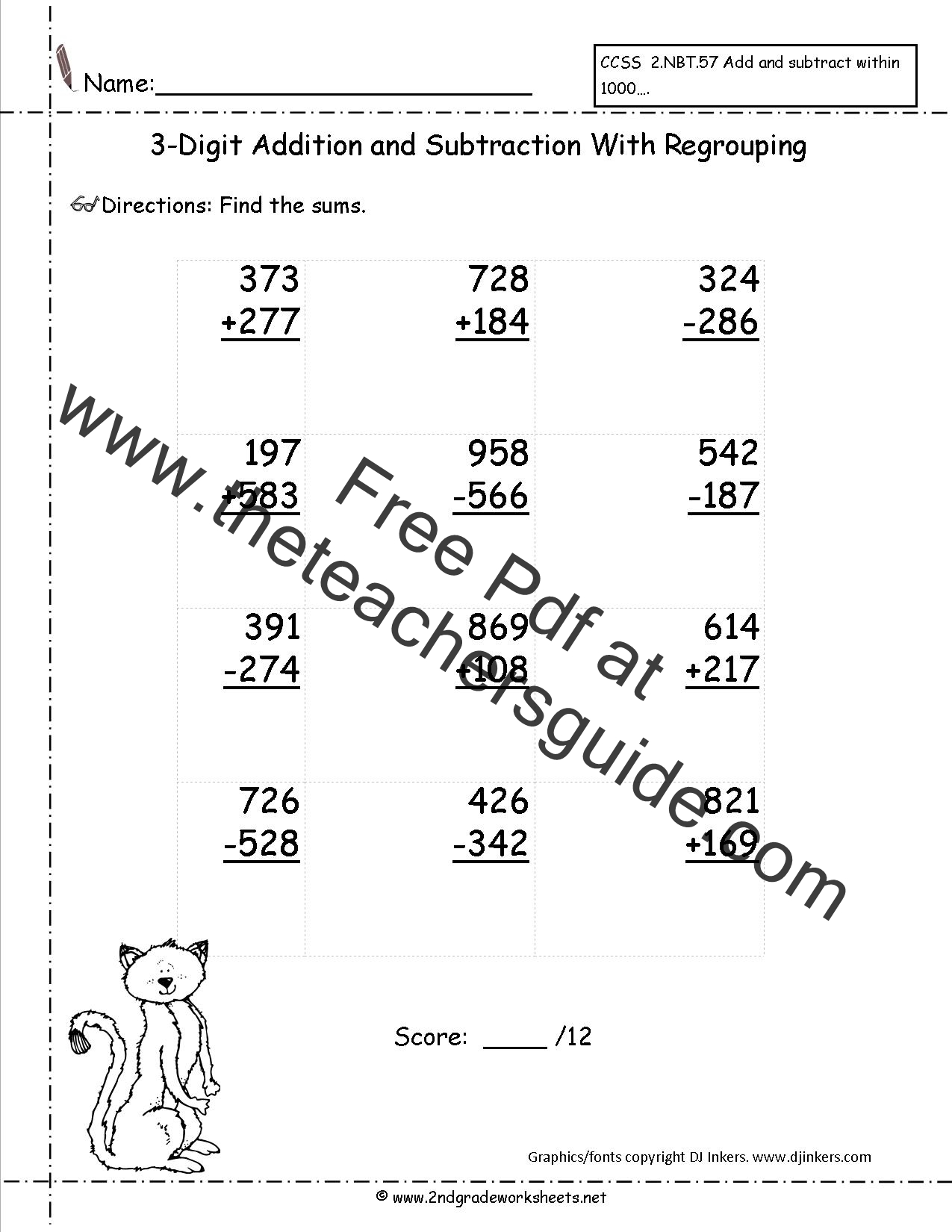 hight resolution of Three Digit Addition and Subtraction Worksheets from The Teacher's Guide