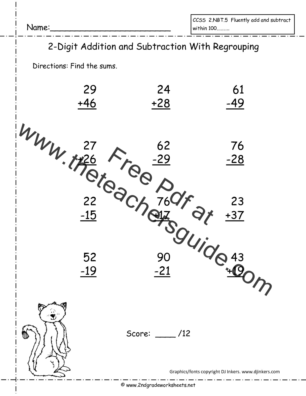 Subtraction With And Without Regrouping Worksheets