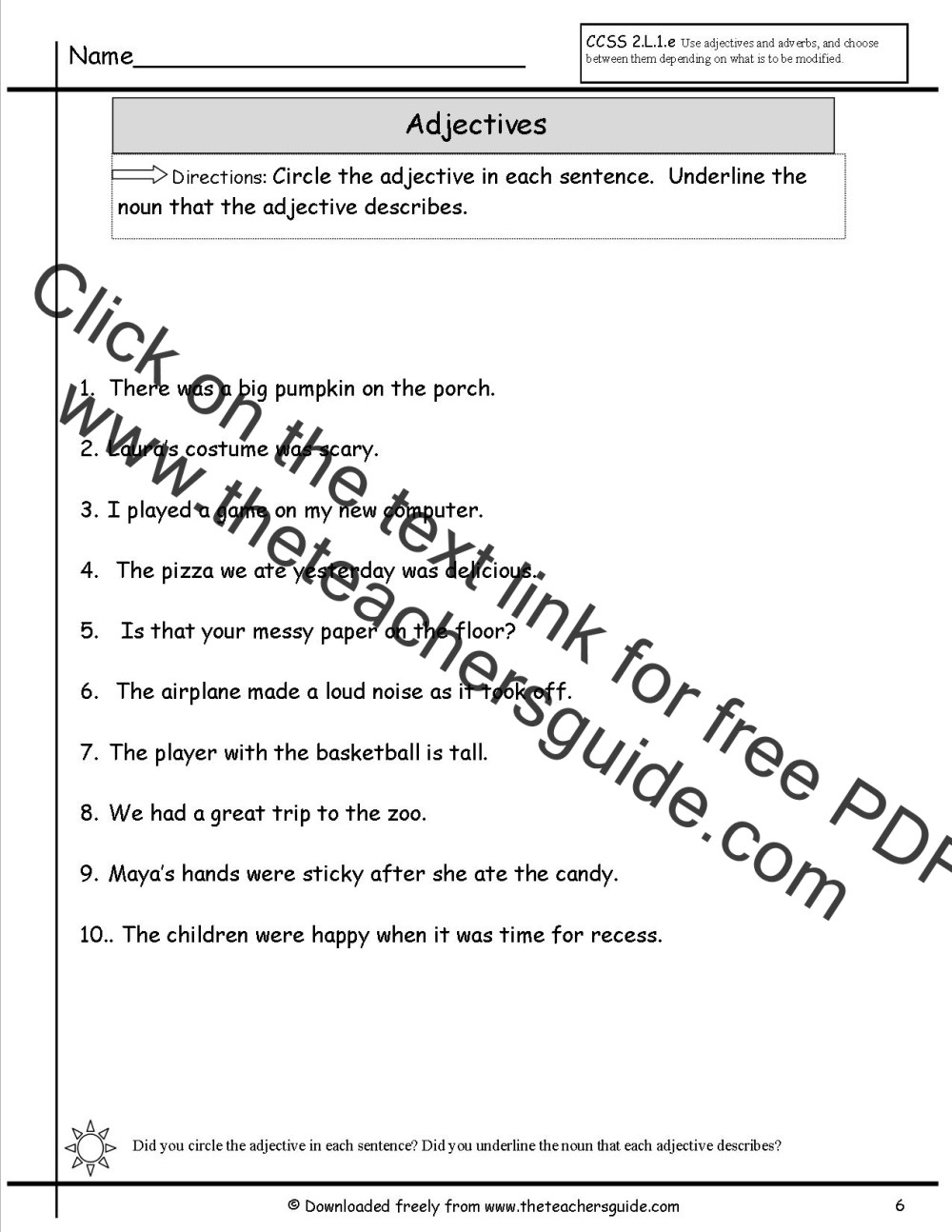 medium resolution of Worksheet On Adjectives For Grade 7 With Answers   Printable Worksheets and  Activities for Teachers
