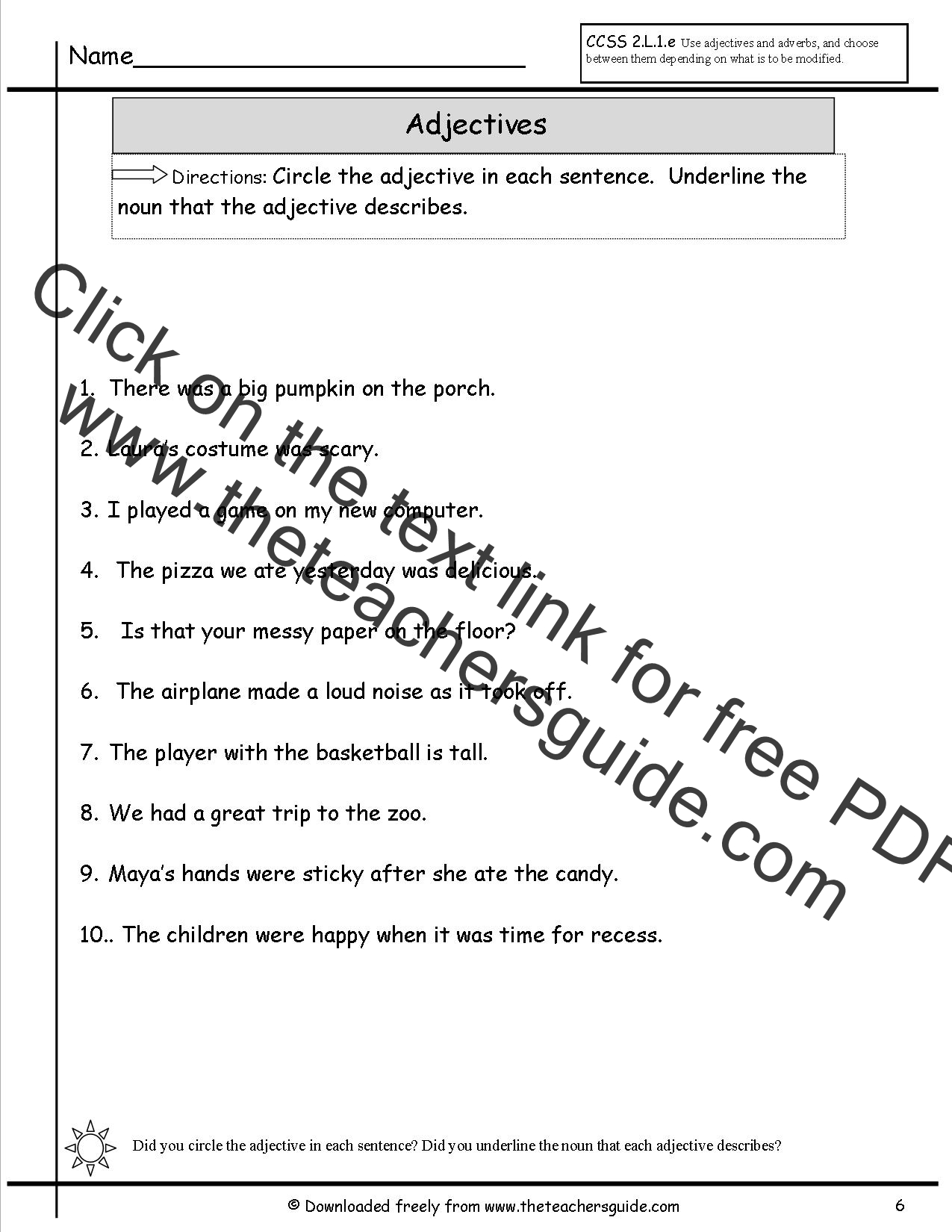 hight resolution of Worksheet On Adjectives For Grade 7 With Answers   Printable Worksheets and  Activities for Teachers