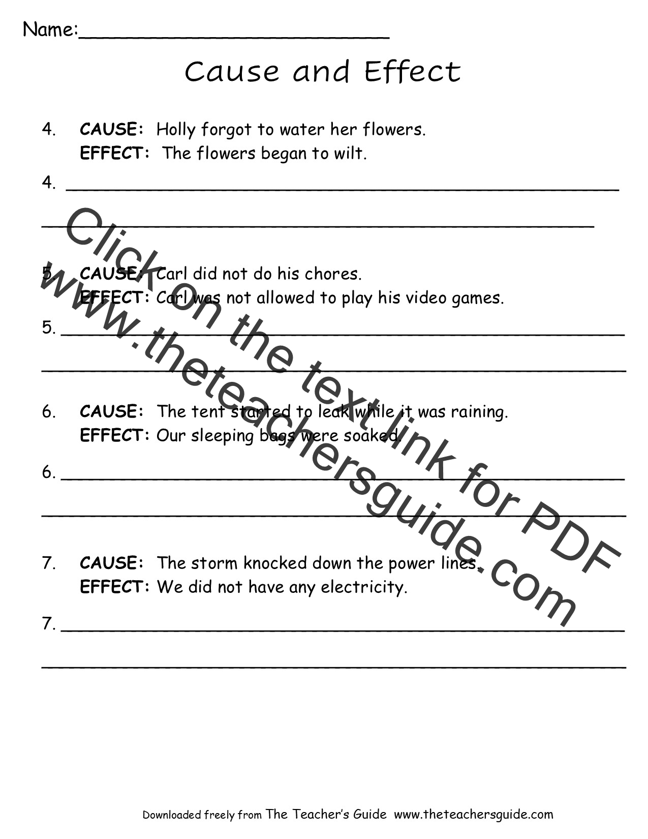 Free Reading Worksheets From The Teacher S Guide
