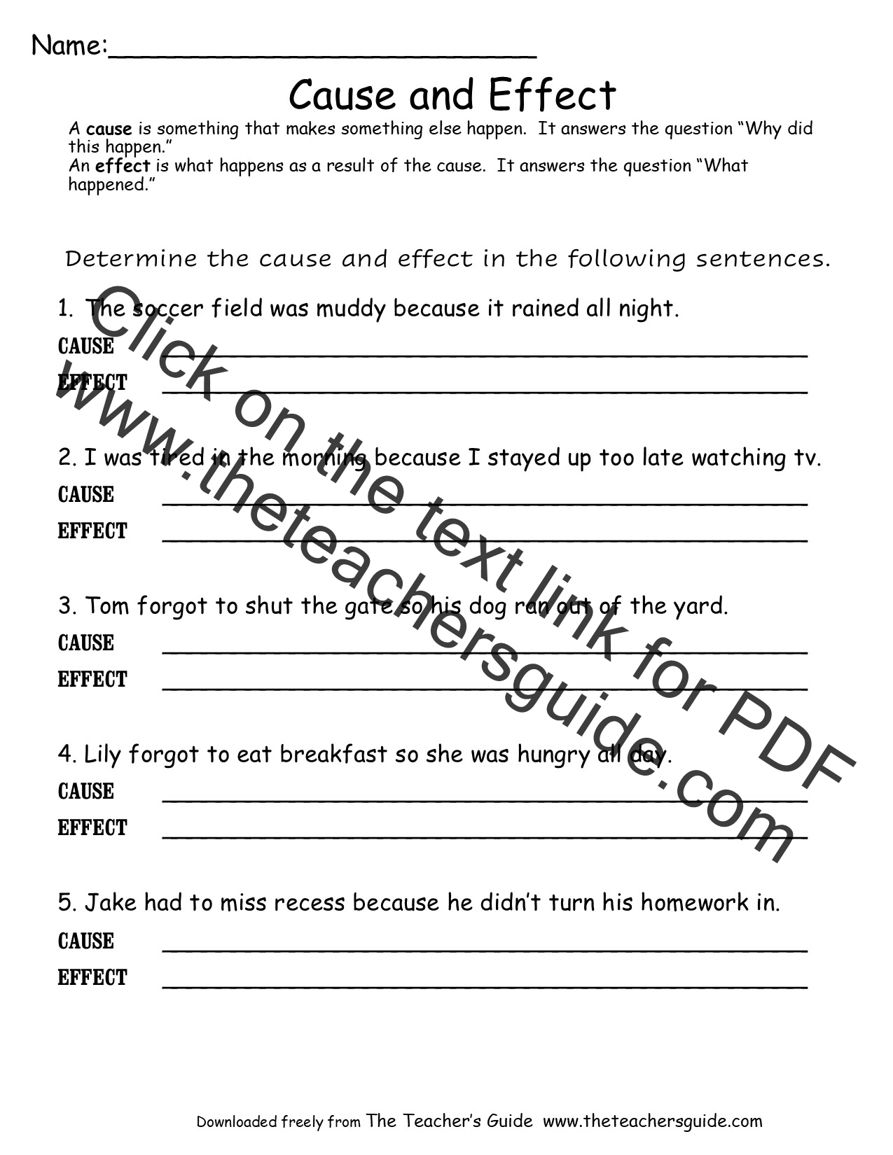 Cause And Effect Worksheets From The Teacher S Guide