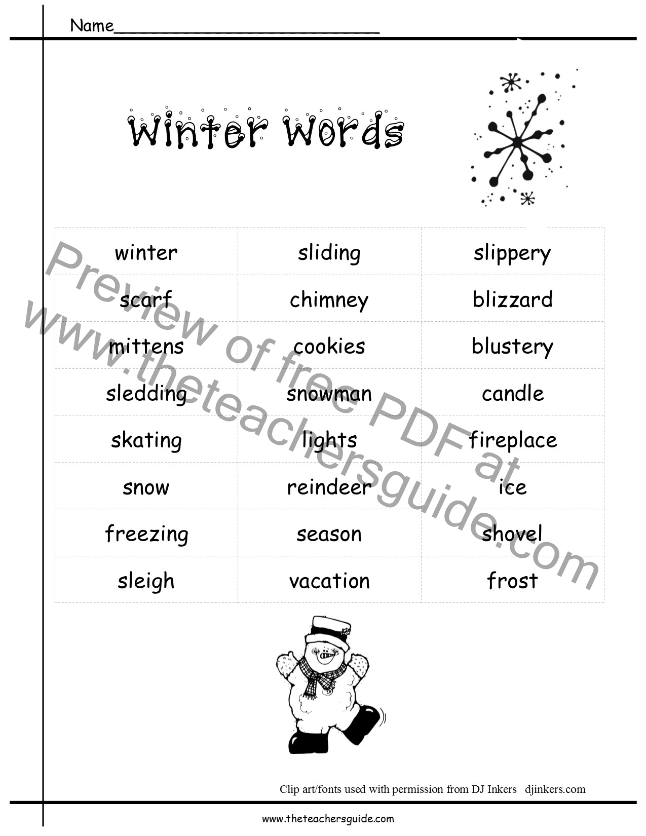 Winter Lesson Plans, Themes, Printouts, Crafts