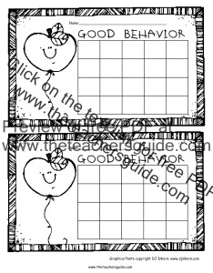 Apple behavior chart black and white also free printable reward incentive charts rh theteachersguide