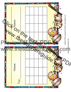 Sports reward chart also free printable and incentive charts rh theteachersguide