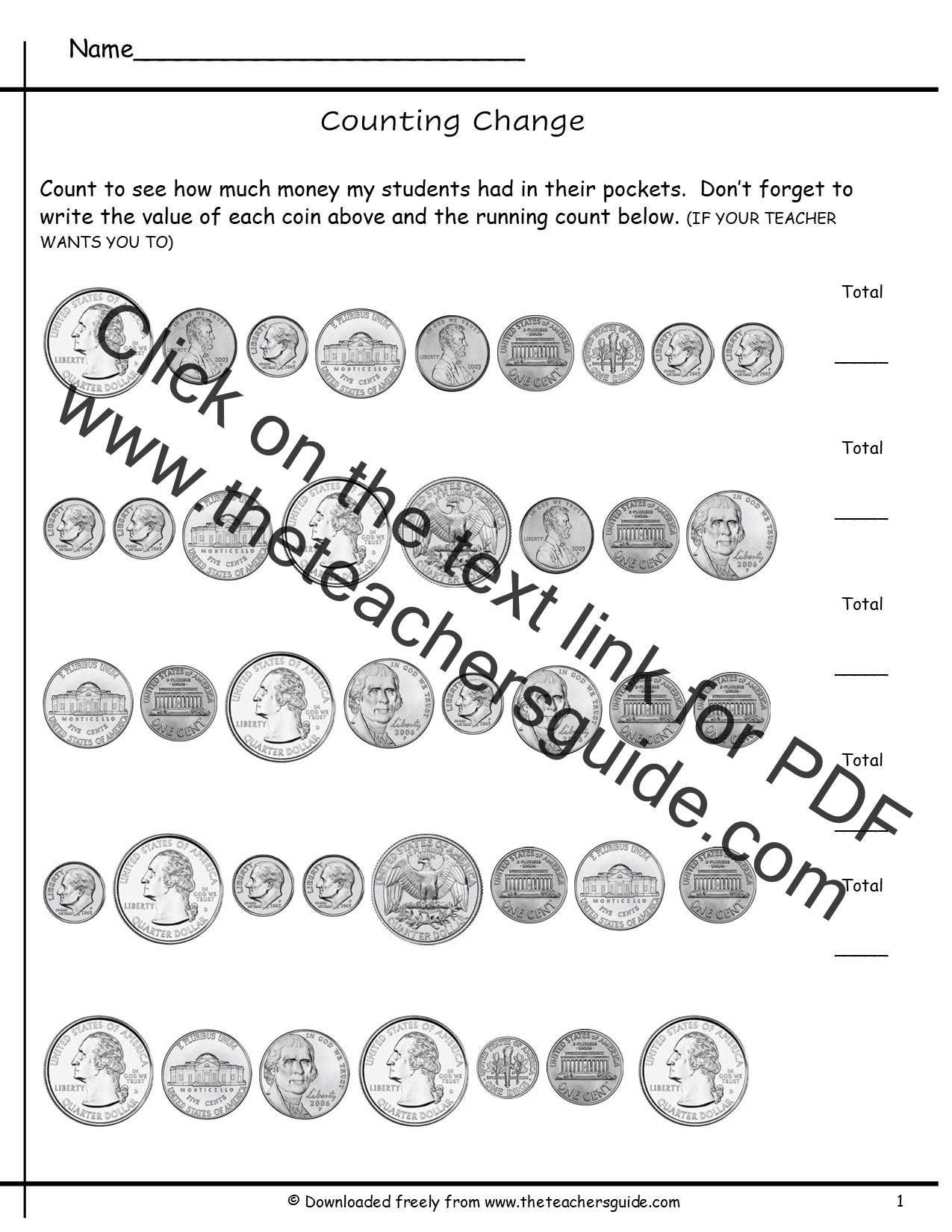 Counting Coins Worksheets from The Teacher's Guide