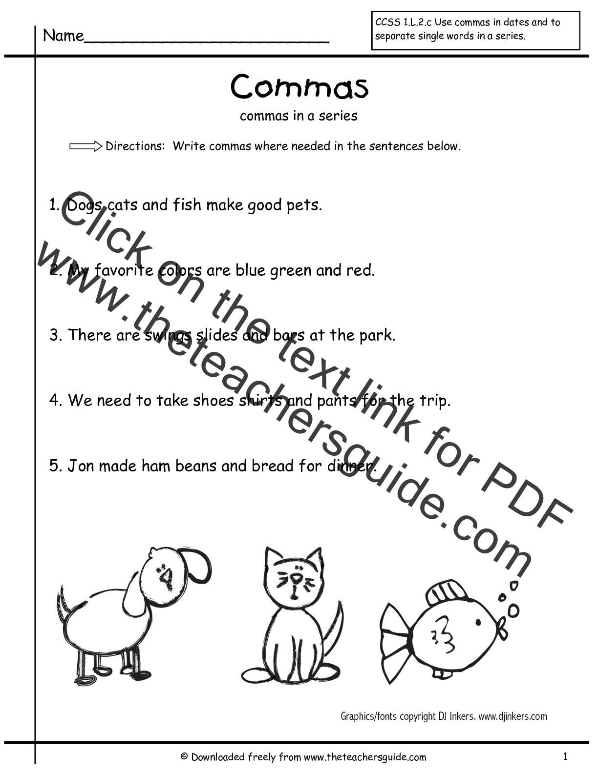 Worksheet Comma Dialogue