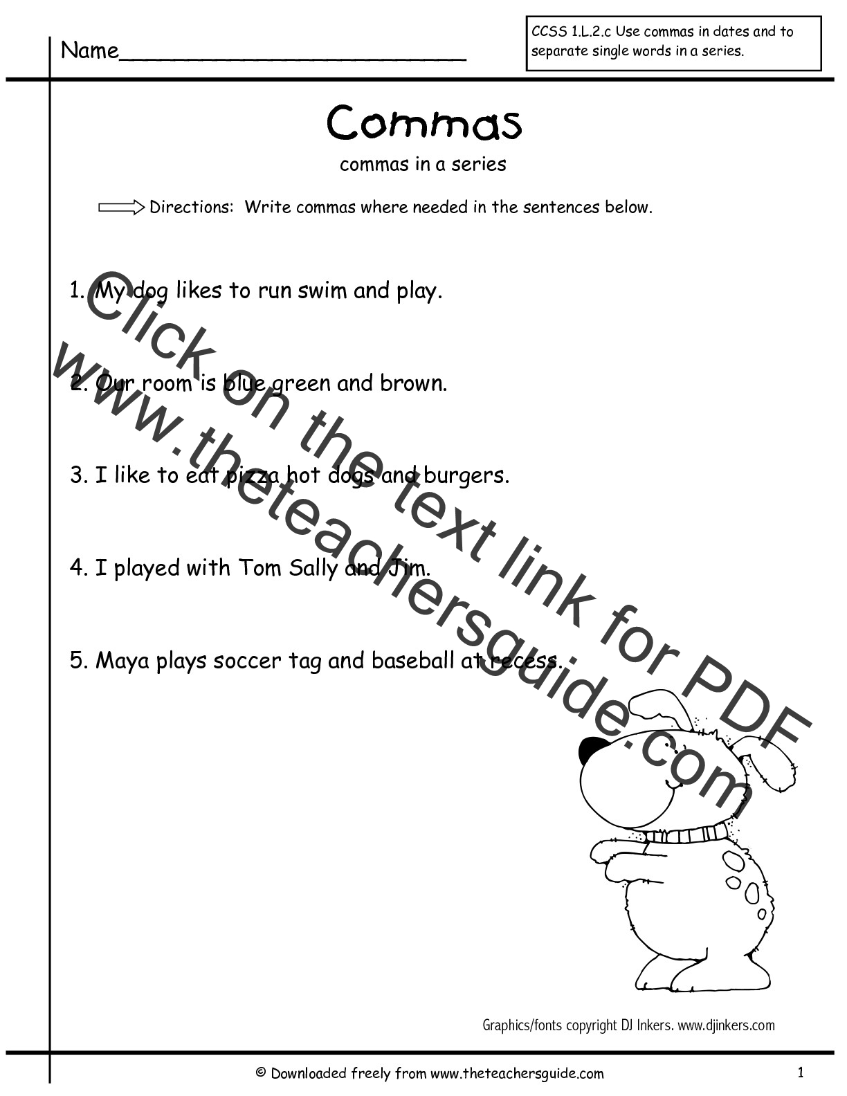 Using Commas In A Series Worksheet
