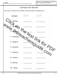 Compound Word Worksheets from The Teacher's Guide
