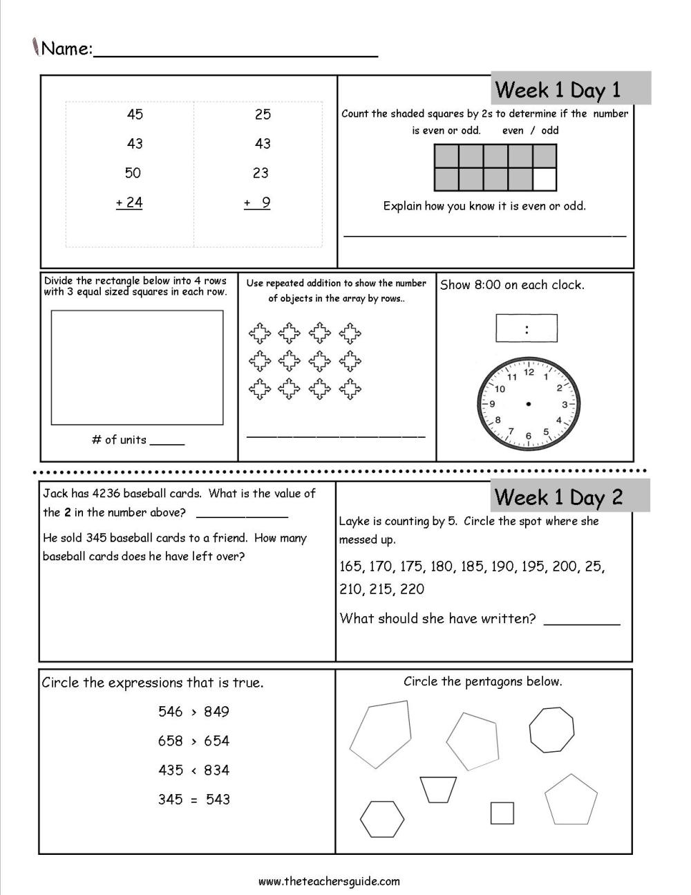 medium resolution of Free 3rd Grade Daily Math Worksheets