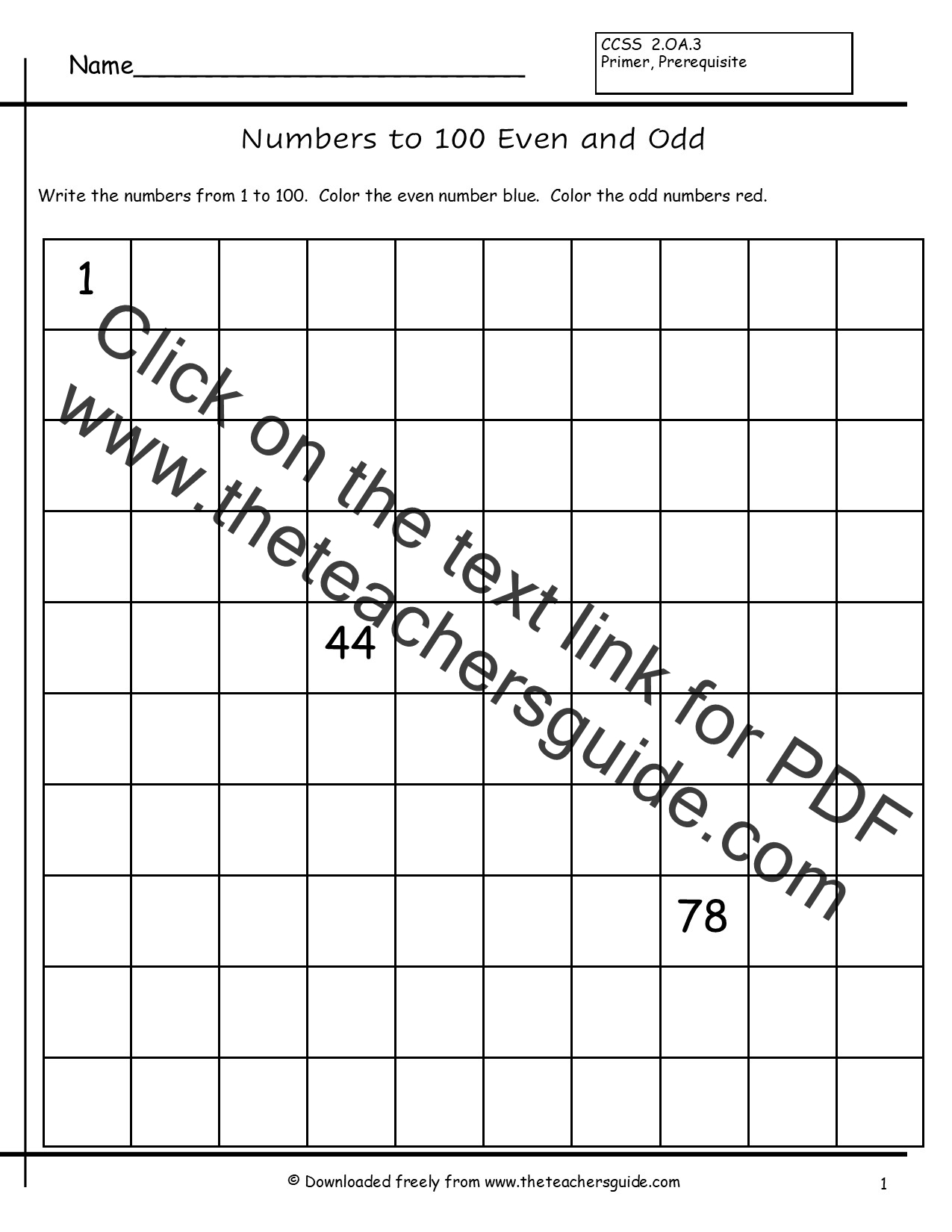 Odd Numbers 1 To 100 Worksheet Students Write Numbers From 1 To 100 Images