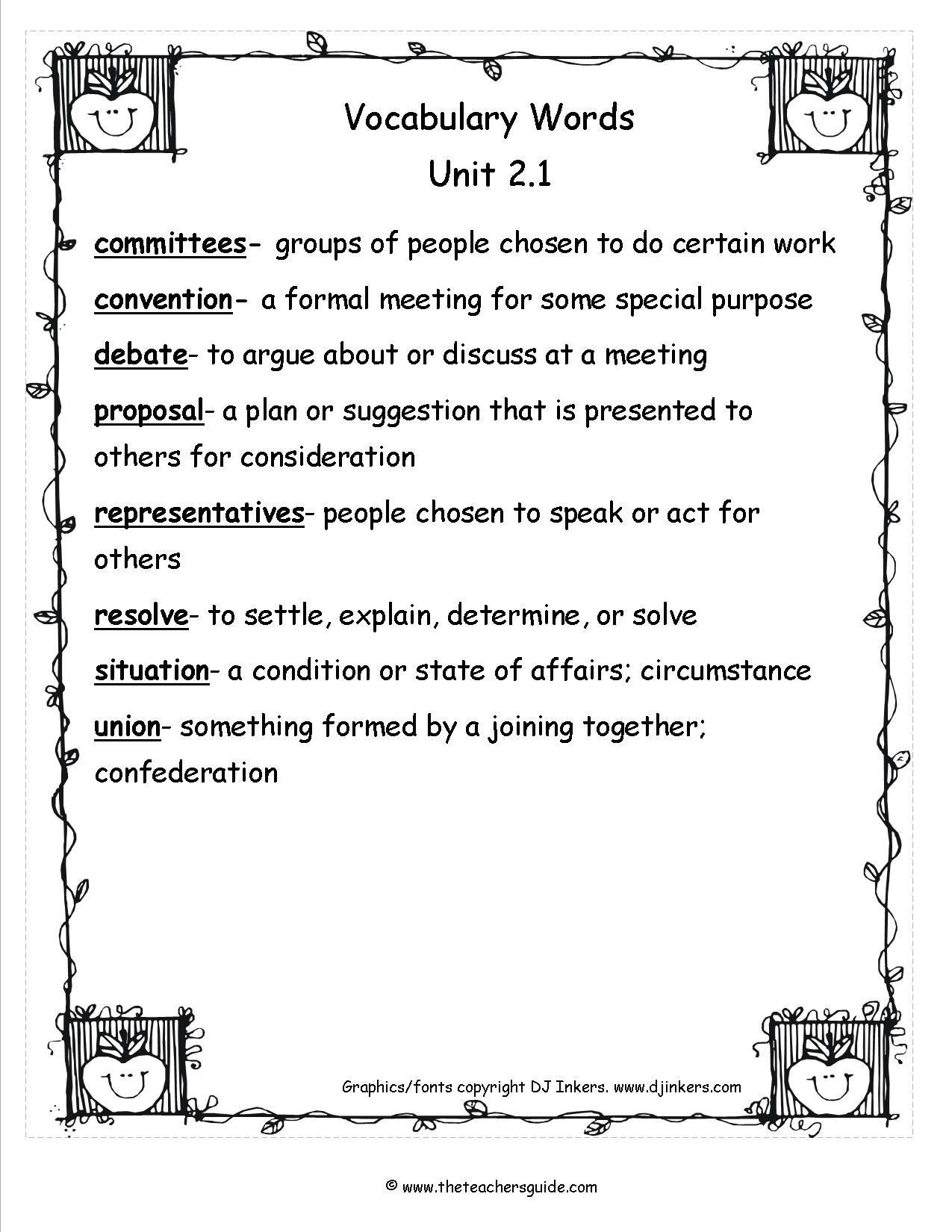 Wonders Fifth Grade Unit Two Week One Printouts