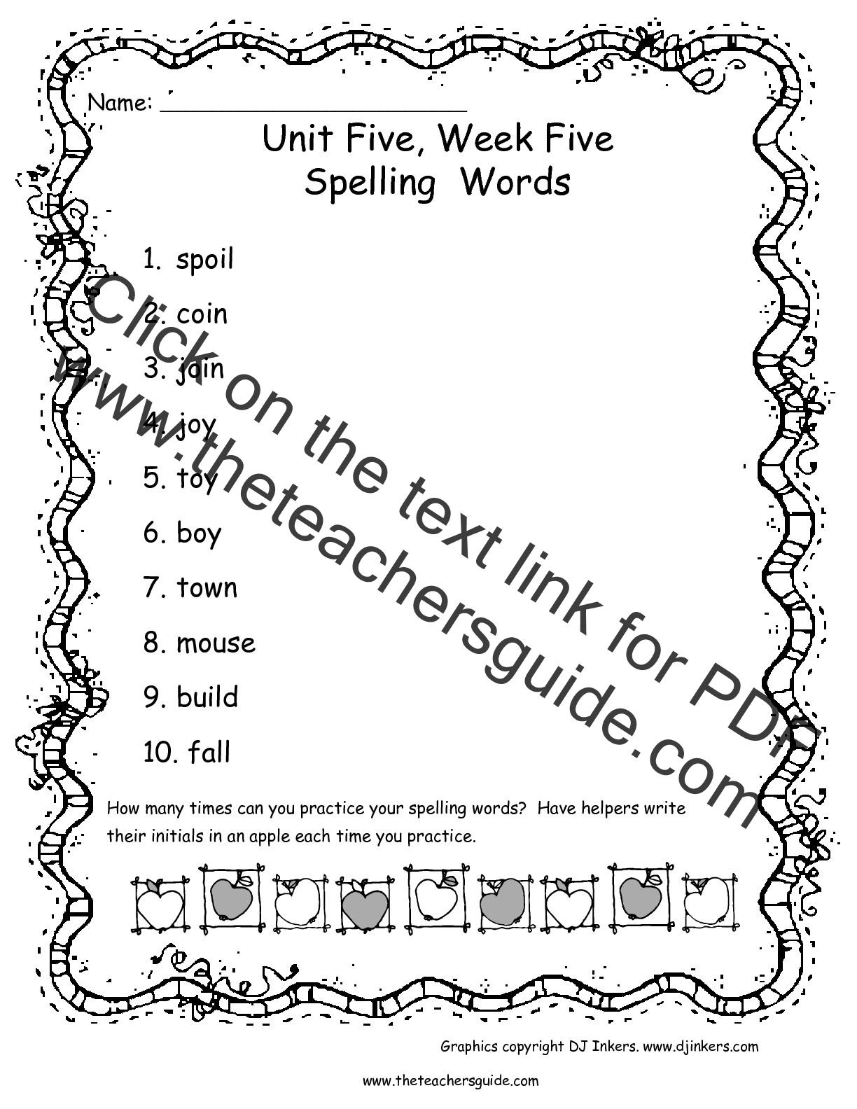 Wonders First Grade Unit Five Week Five Printouts