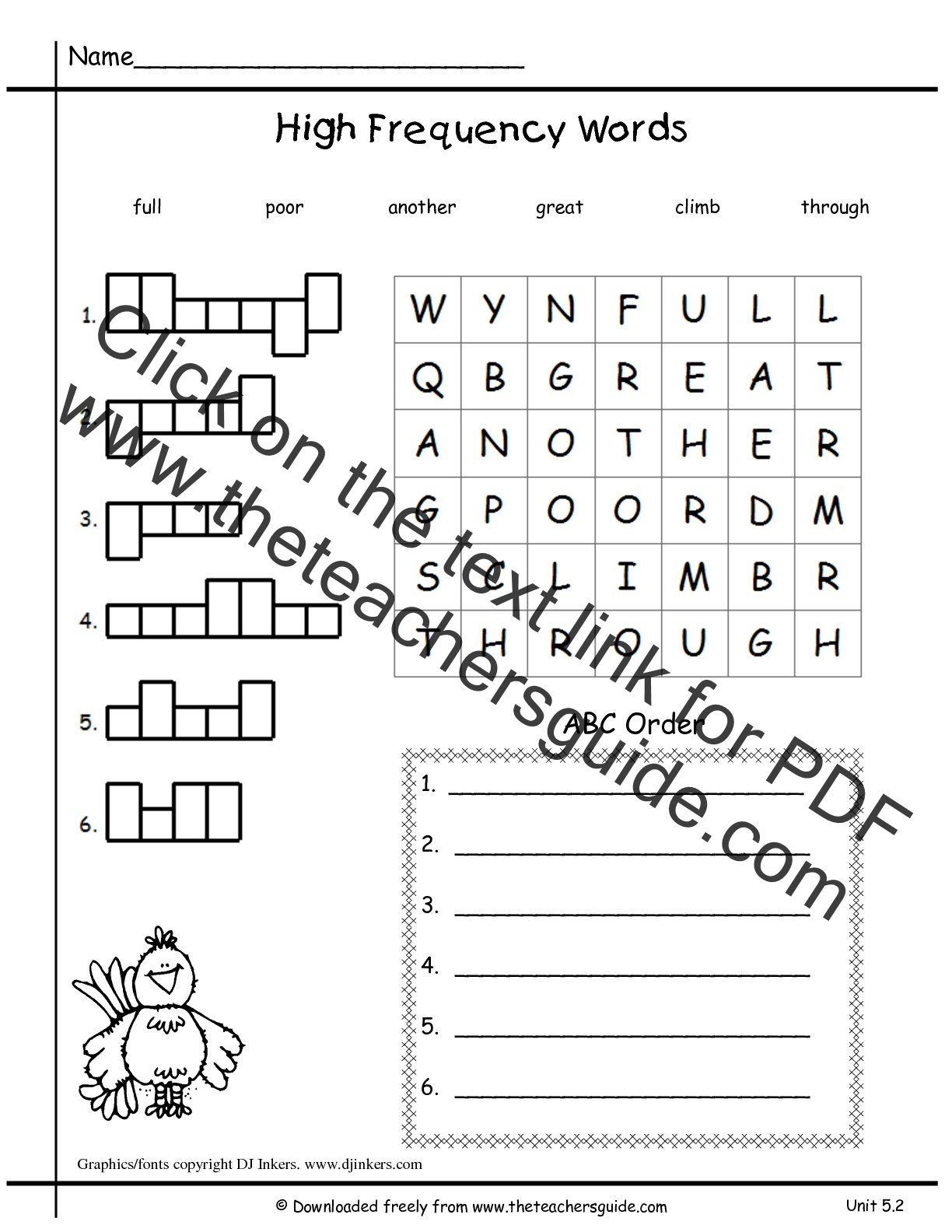 1st Grade High Frequency Worksheet
