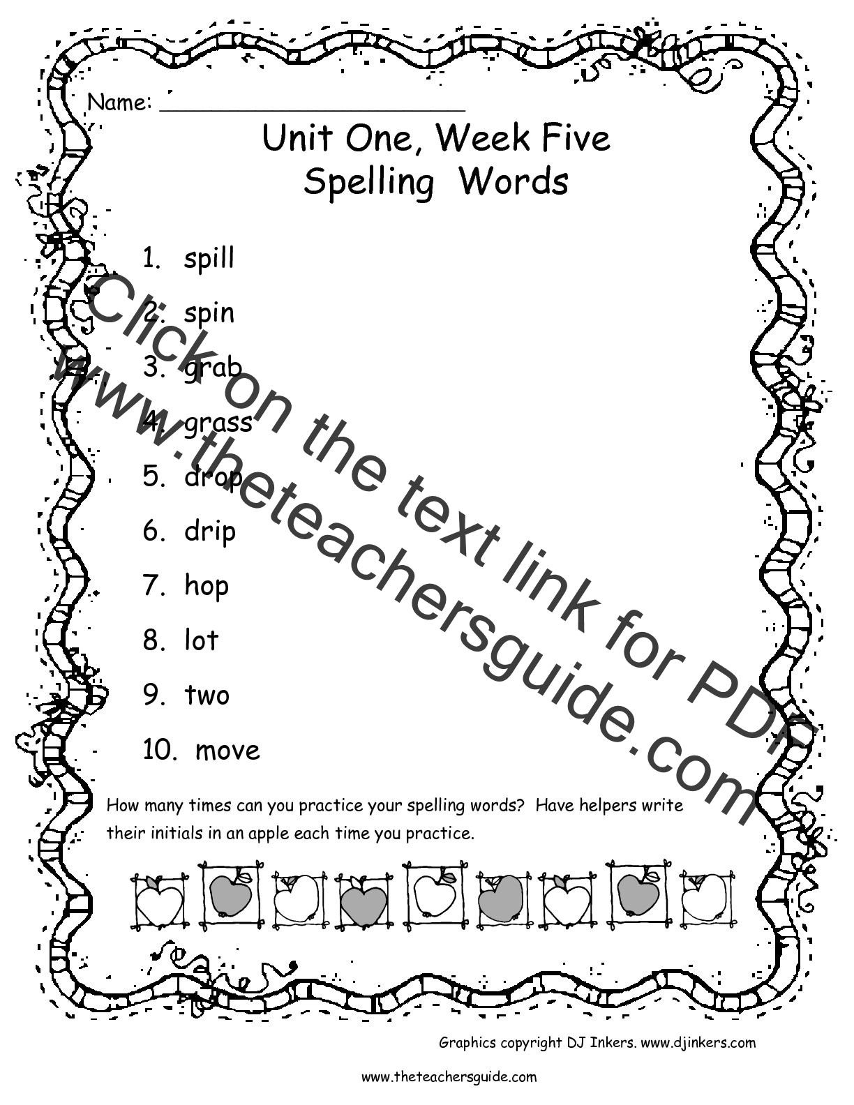 Wonders First Grade Unit One Week Five Printouts