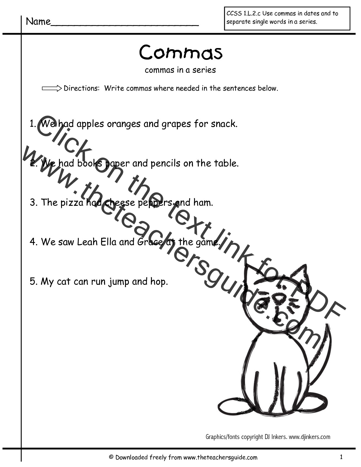 New 337 First Grade Worksheets Commas
